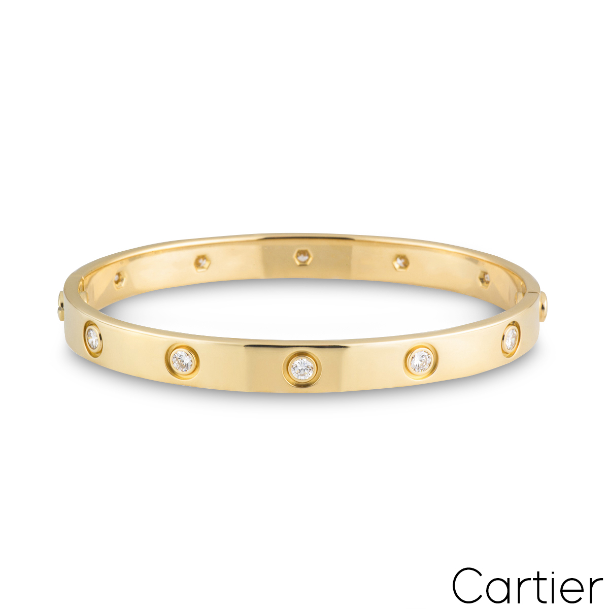 Cartier Yellow Gold Full Diamond Love Bracelet Size 16 B6040516